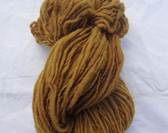 naturally dyed, hand dyed, hand spun, single-ply wool yarn