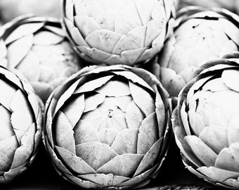 Food Photography, Black and White Kitchen, Artichoke, Kitchen Wall Art, Black and White Food Print, Vegetables, Monochromatic Kitchen