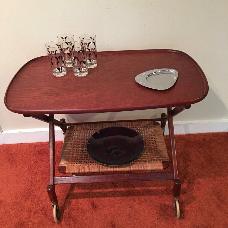 poul hundevad mid century modern bar cart folding wood bar. Black Bedroom Furniture Sets. Home Design Ideas