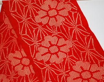 Red Floral – Vintage Japanese Chirimen Silk Obi Scarf
