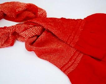 Red Detailing – Vintage Japanese Silk Obi Scarf