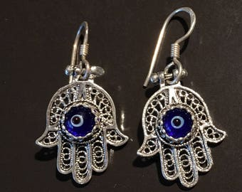 Hamza Hand Earring - Sterling Silver Earring Hand of Fatima-Protection - Good Luck-Unique-Vintage -Gypsy-Islam-Vintage Shop