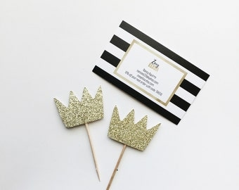 Crown Glitter Cupcake Toppers - Where the Wild Things Are - Wild One -Birthday -Party -Dessert Table -Decor -Donut Toppers - Royal - Prince