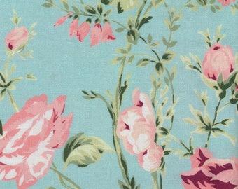 Au maison oilcloth sophia Aqua Sky Flowers Turquoise coated cotton