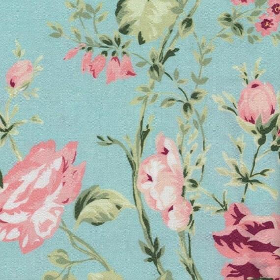 Au maison oilcloth sophia aqua sky flowers turquoise for Au maison oilcloth