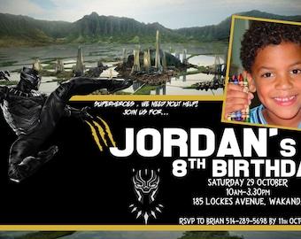 Marvel Black Panther, African American superhero, Black Superhero, Black Panther Party, Black Panther Brithday photo Invite, DIY Printable