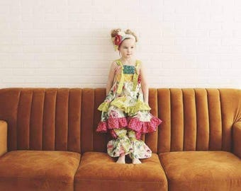 Leona Bundle ... Pink PomPon- girls boutique outfit, toddler fall clothing, girls ruffle pants baby handmade outfit knot twirl dress pageant