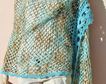 Handmade crochet multicolored shawl in green, brown and ecru, natural cotton yarn