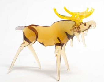 Hand-Blown Glass Moose Art Collectible  Figurine