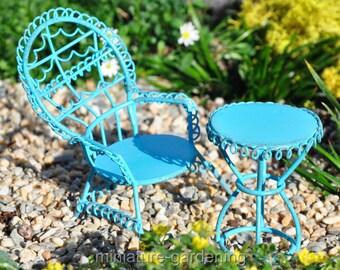 Blue Peacock Chair, Table, 2 Piece Set for Miniature Garden, Fairy Garden