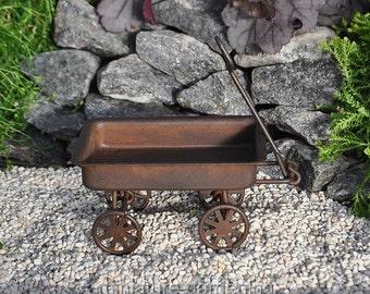 Primitive Rustic Tin Wagon for Miniature Garden, Fairy Garden