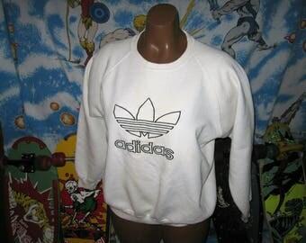 1980s vintage ADIDAS WHITE CREWNECK - sz lg - classic puma nike sweatshirt trefoil shirt