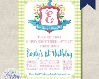 Easter Birthday - Bunny Birthday Invitation - Digital File, You Print