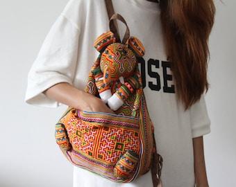 Elephant Bag / Backpack / Knapsack/ Embroidered Bag / Hmong Bag / Hmong Knapsack / Hmong Embroidered Elephant Bag