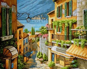 "Gobelin Tapestry Needlepoint Kit ""Landscape""  printed canvas 517"