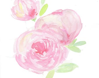 Nursery wall art, Floral print, peony nursery, peony watercolor, girl nursery,  pink peony, soft peonies, shabby chic nursery, wall art