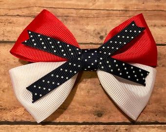 white stars bow, hair bows, hair clips, girls hair bows, hair bows for girls, boutique bows, kids bows