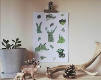 Woodland Animals Print - Autumnal creatures A4 Poster print - Flora Fauna for nature lovers