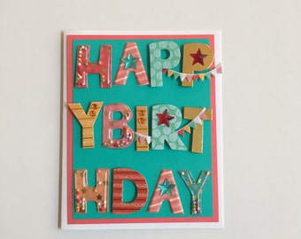 Handmade Happy Birthday Birthday Block Letters Card | Buy Any 4 Cards, Get 1 FREE