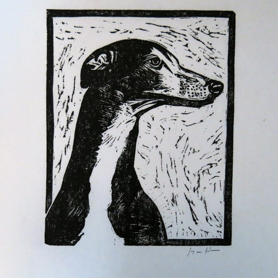 Greyhound in Profile art block print