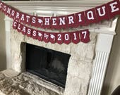 Custom Graduation Banner & Class of 2018 Banner Combo! Can customize school colors and grads name!
