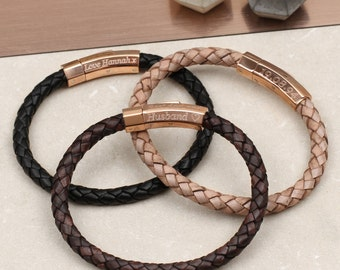 Personalised Rose Gold Clasp Leather Bracelet (HBMB03R)