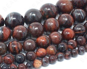 "Red Tiger Eye Beads Natural Gemstone Round Loose - 4mm 6mm 8mm 10mm 12mm - 15.5"" Strand"