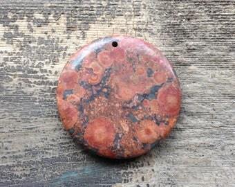 Poppy Jasper Pendant Bead - Matte Finish - Circular - Rust, Brick and Brown