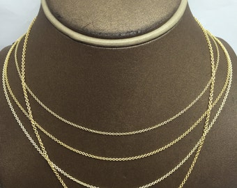 14K Solid Yellow Gold Cable Chain (Available in Multiple Lengths/Weights/Widths)