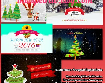 Holiday Christmas and New Year Animated Powerpoint Templates Combo Package, digital delivery, replace texts