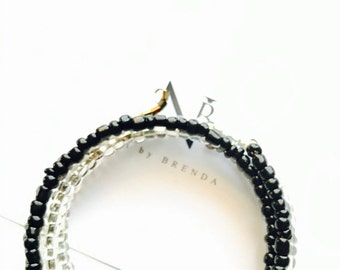 Silver and Black Memory Bracelet
