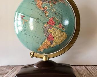 Vintage Globe, 1950's Replogle Globe, Replogle Globe with Atlas, Vintage World Globe, Mid Century Globe, Vintage Globe, Vintage Decor