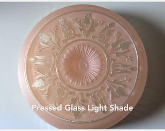 Pressed Glass Light Shade/Traditional Center Post Light Shade/Flush Mount Shade/Pink Pressed Glass Light Shade/Antique Lighting/Pink Glass
