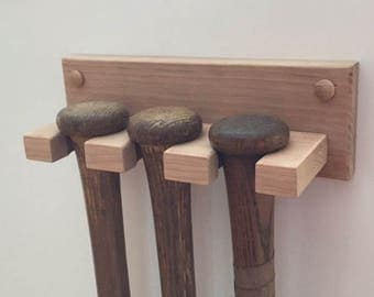 UNFINISHED Vertical 3 Baseball Bat Holder