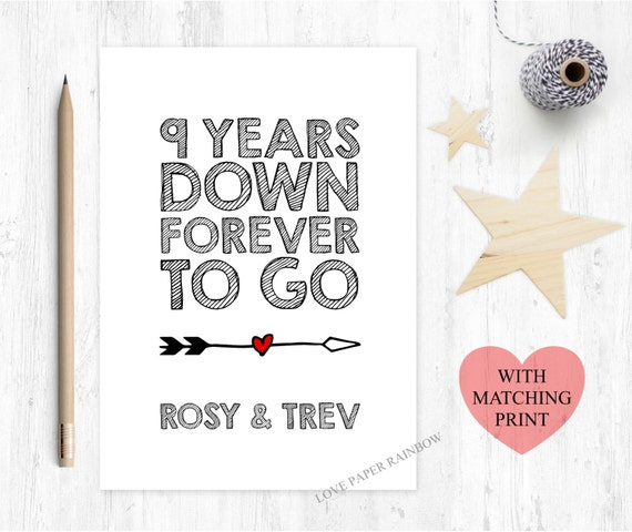 9th Year Wedding Anniversary Gifts: 9th Wedding Anniversary Card 9th Anniversary Card 9 Years