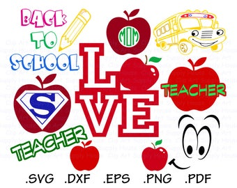 Teacher Svg Files, School Clipart, Classroom Svg, Use With Silhouette Software, Svg Instant Download Files, EPS File, DXF File - CA435