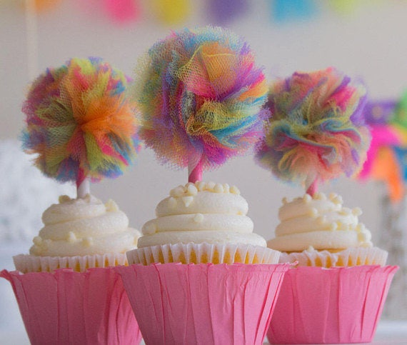 rainbow tulle cupcake toppers