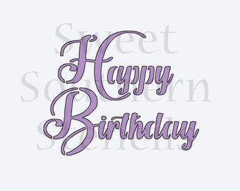 Happy Birthday Brush Script Cookie Stencil