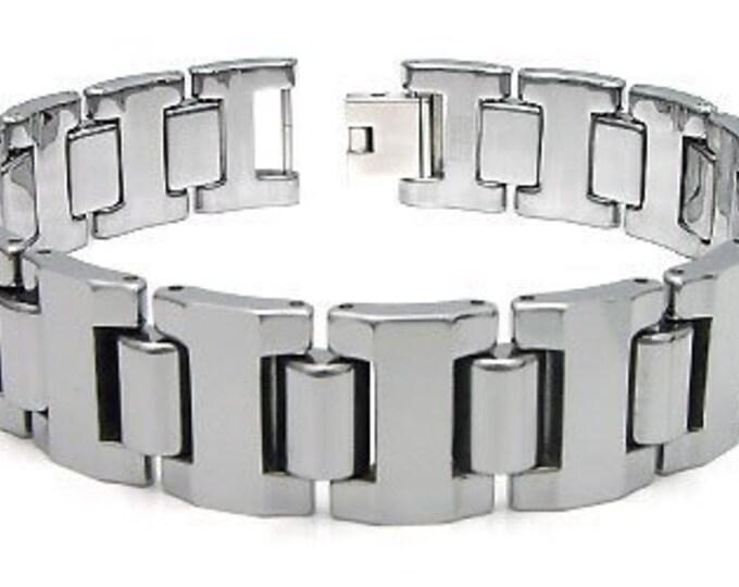 16MM Bracelet Tungsten Carbide High Polished Link Men's Unisex Bracelet Jewel