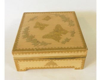Vintage Wooden Jewelry Box with Gold Decoupage Butterflies