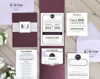 Plum, Lavender and Silver Glitter Pocket Wedding Invitation, Plum and Silver Wedding Invitation, Plum and Lilac Wedding Invitation, Glitter