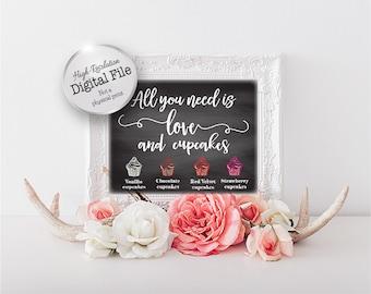Printable Wedding Cupcake Menu Sign, Wedding Printables, Personalized Cupcake Sign, Dessert Menu,Digital Files
