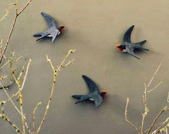 Swallows rustic felt bird decor, three little birds for your wall, nature decor for gift, wall swallow