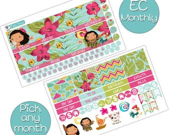 Moana Monthly Kit for Erin Condren Planner - Pick ANY Month! - Disney Planner Stickers