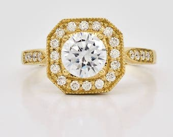 18K Yellow Gold and Diamond Semi Mount Engagement Ring 3.6 grams