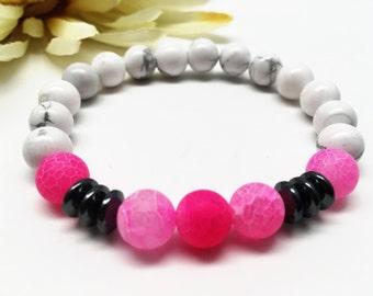 Frosted Agate Bracelet, Fushia Agate Bracelet, Howlite Bracelet, Pink Bracelet, Stretch Bracelet, Beaded Bracelet, Gemstone Bracelet