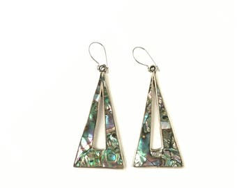 Vintage Alpaca Mexico Hallmarked Abalone and Pearl Shell Triangle Pyramid Earrings