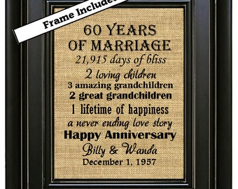 FRAMED 60th Wedding Anniversary/60th Anniversary Gifts/60th Wedding Anniversary Gifts/Burlap Art Print/Parents Diamond Anniversary Gift