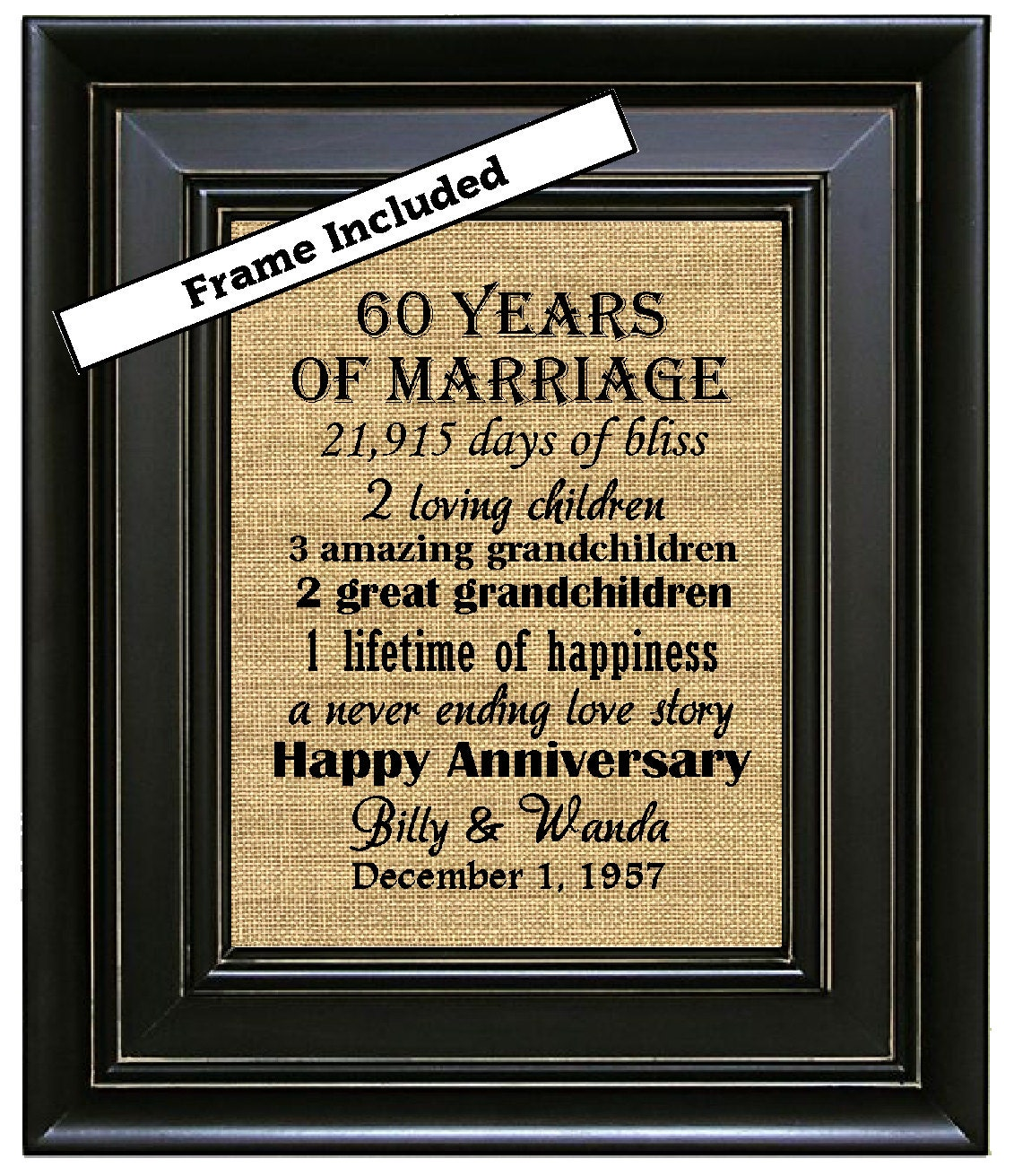 What Is The Traditional Wedding Anniversary Gifts: FRAMED 60th Wedding Anniversary/60th Anniversary Gifts/60th