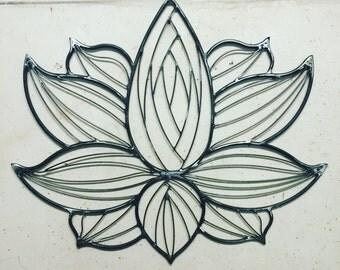 Metal welded lotus flower wall art sculpture